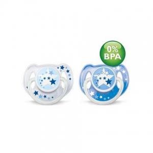 CHUPETE 6-18 SILICONA NOCTURNO BPA  X2